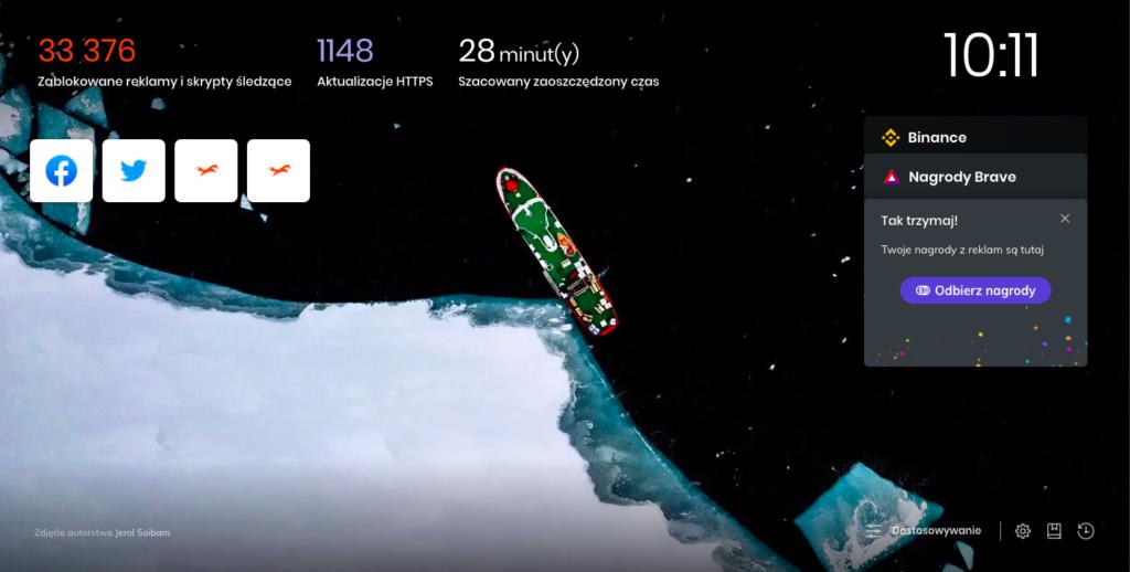Brave Browser ekran startowy