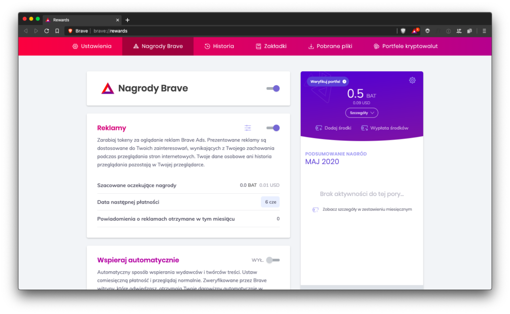 Brave Rewards w Brave Browser