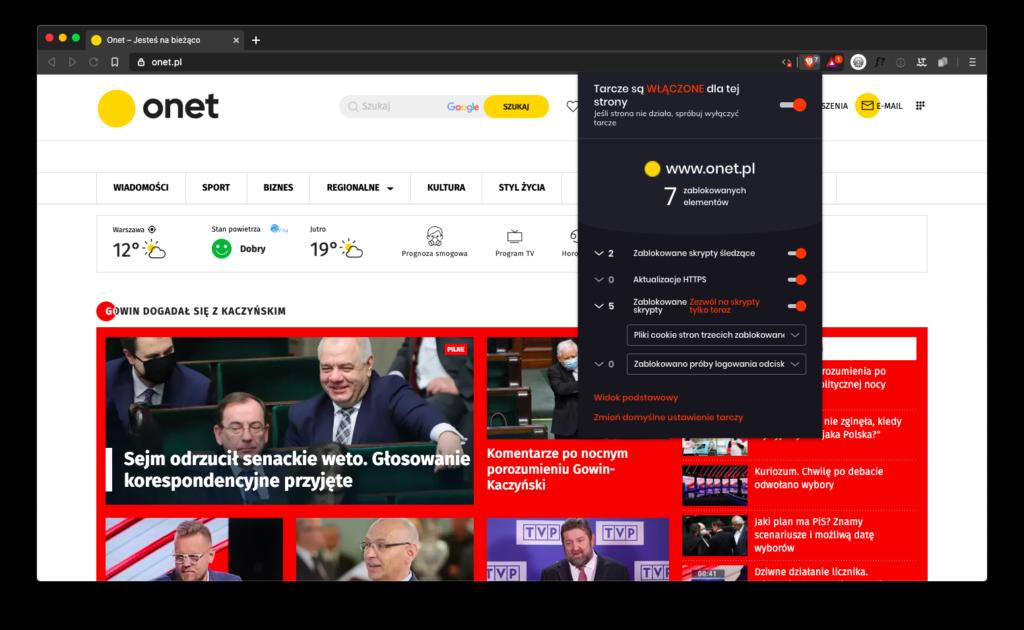 Brave Browser blokowanie elementów na Onet.pl